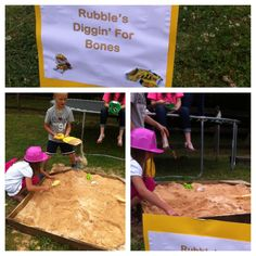 Rubble's diggin' for bones station at Paw Patrol party. Paw Patrol Games, Paw Patrol Party, Paw Patrol Birthday, 4th Birthday Parties, Birthday Fun, Birthday Ideas, Third Birthday, Puppy Birthday, Puppy Party