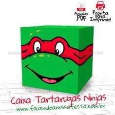 Baixe agora de graça a Caixa quadrada das Tartarugas Ninjas e use na sua festa na decoração ou para dar de lembrancinha para seus convidados com guloseimas