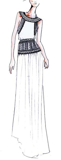 Fashion Sketch of long beaded deco dress by Temperley London - fashion illustration; dress drawing