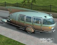 Cool vintage camper looks like a rocket! Vintage caravan - tiny travel trailer - retro <O> Vintage Rv, Vintage Caravans, Vintage Travel Trailers, Retro Trailers, Weird Cars, Cool Cars, Onibus Marcopolo, Automobile, Retro Campers