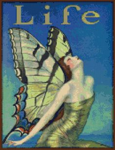 Art Deco Life magazine cover Cross Stitch pattern PDF - EASY chart with one color per sheet AND traditional chart! Two charts in one! by HeritageChart on Etsy