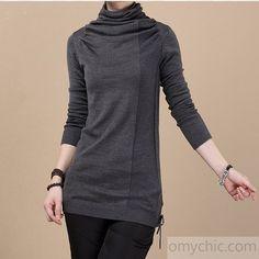 Dark gray Basic tunic sweater shirt