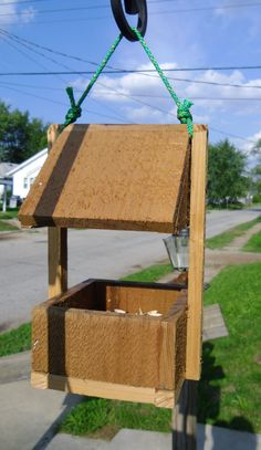 Small Cedar Bird Feeder With Bird Seed Bin Feeding Station. $17.95