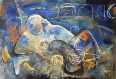 """Saatchi Art is pleased to offer the painting, """"Dream Eel During A Fortnight,"""" by Ioana Serban. Original Painting: Oil, Ink on Cardboard. Saatchi Art, Artworks, Original Paintings, Artist, Artists, Art Pieces"""
