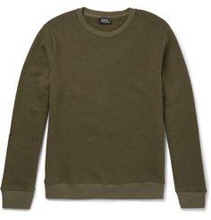 A.P.C. Slim-Fit Washed Cotton-Blend Jersey Sweatshirt. #a.p.c. #cloth #sweats