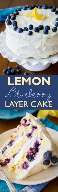 Sunshine-sweet lemon layer cake dotted with juicy blueberries and topped with lush cream cheese frosting. One of the most popular recipes on sallysbakingaddic...