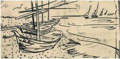 Fishing Boats on the Beach Vincent van Gogh Fecha: Arles, Bouches-du-Rhône, France Estilo: Posimpresionismo Género: dibujo y boceto Media: tinta, paper Boat Drawing, Line Drawing, Painting & Drawing, Vincent Van Gogh, Van Gogh Drawings, Van Gogh Paintings, Wave Boat, Van Gogh Tattoo, Arte Van Gogh