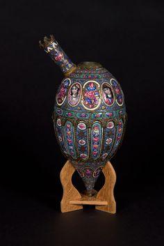 Iran-Qajar Enamel Water Pipe Bowl With Human Figures And Floral Motifs, Persia Old Jewelry, Jewelry Art, Jewellery, Qajar Dynasty, Cradle Of Civilization, Persian Culture, Steel Art, Iranian Art, Ancient Art