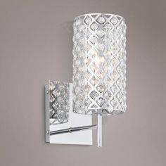 Bathroom Chandelier Sconces solid crystal sconce with polished nickel details; wall lighting