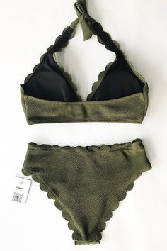 We are loving this olive green halter bikini set! Product Code: Details: Halter design Wavy edge Removable padding bra Special texture fabric Regular w Halter Bikini, Bikini Beach, Bikini Swimwear, Bikini Set, Swimsuits, Women Lingerie, Beauty Women, Fabric Design, Crochet Bikini