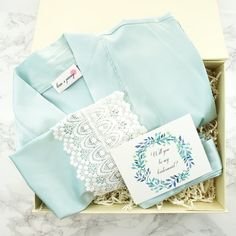 Something blue gift box / Bridesmaid robes for getting ready / Bridal kimono robes for weddings / Gift for her