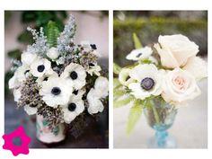 Anémona como flor de boda en centro de mesa