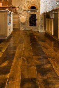 Flooring for bar. Wide Plank Flooring to Give Your Kitchen the Tuscan Style Wide Plank Flooring, Laminate Flooring, Flooring Ideas, Hardwood Floors, Kitchen Flooring, Engineered Hardwood, Planks, Walnut Floors, Basement Flooring