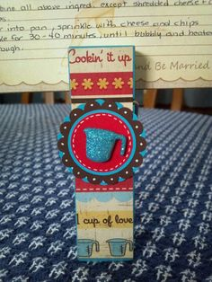 Recipe card holder using large clothespin