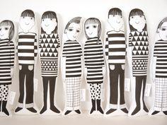 Scandinavian Jen Joe Morris and Mandy screen printed Jane Foster plush toys  - retro modern geometric fabric by Janefoster on Etsy