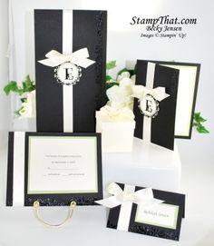 Stampin' Up! Handmade Wedding Invitation with Coordinationg Response Cards, Place Cards & More
