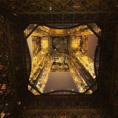 Under the Eiffel tower by night