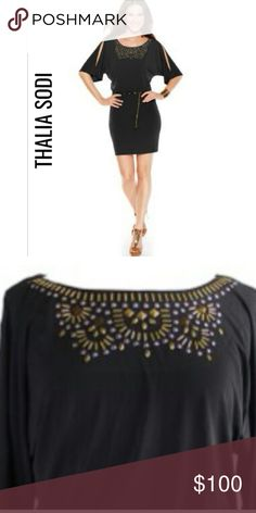 THALIA SODI Studded Cold-Shoulder Dress NWT S THALIA SODI FOR MACY'S  Studded cold-shoulder sheath dress.  Cold-shoulder cut-outs. Studded embellishments and a skinny chain belt. Pullover style. Scoop neckline. Short sleeves. Blouson bodice. Lined. Hits above knee. Removable gold-tone chain belt. Polyester. Machine washable. NWT $99.50  20% OFF 3 or More Items Thalia Sodi Dresses