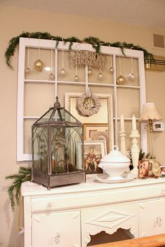 I just love this.. white and gold add silver and a mirror....perfect! Get those old windows out of the barn