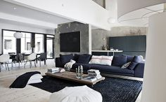 Beton schwarz Wände schwarz Teppich verwendet in schwarz-weiß zeitgenössische Innenarchitektur