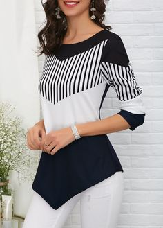 Asymmetric Hem Color Block T Shirt | #blouses #blousestyle  #fashion #womensfashion #tshirt  #afflink #womenstop #casual #casualstyle #asymmetrichem #tunic