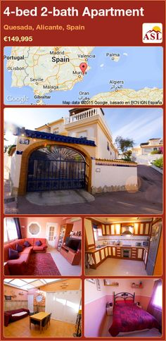 Apartment for Sale in Quesada, Alicante, Spain with 4 bedrooms, 2 bathrooms - A Spanish Life Valencia, Portugal, Alicante Spain, Heating And Air Conditioning, Central Heating, Double Bedroom, Apartments For Sale, Ground Floor, Rooftop