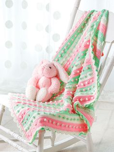 Crochet - Afghan & Throw Patterns - Special Stitch & Ripple Patterns - Gumdrops Baby Blanket