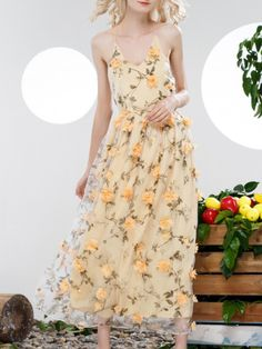 Yellow Spaghetti Strap Backless Flowers Applique Dress