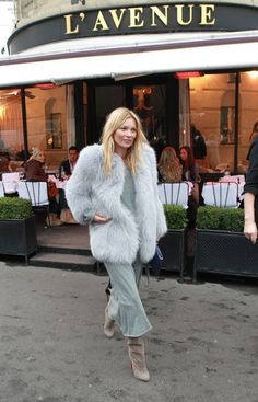 Kate Moss wearing mint fur coat & maxi dress