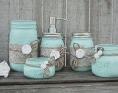 Mason Badegarnitur Jar Coral mintgrün Shabby von TheVintageArtistry