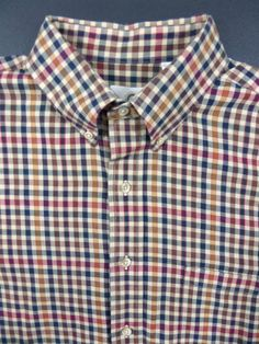 Viyella Men's Wool Cotton Blend Long Sleeved Dress Shirt L Large Check Plaid #Viyella #ButtonFront