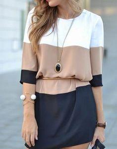 DESCRIPTION Season :Fall Pattern Type :Color Block Sleeve Length :Half Sleeve Color :Coffee Dresses Length :Short Style :Fashion Material :Polyester Neckline :R