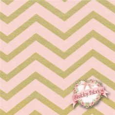 "Glitz 6321-CONF Confetti By Michael Miller Fabrics: Glitz is a modern collection by Michael Miller Fabrics. 100% cotton. 43/44"" wide. This fabric features a thick chevron in light pink and a slightly thinner chevron in metallic gold."
