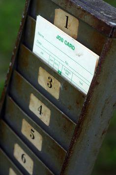vintage metal time card rack