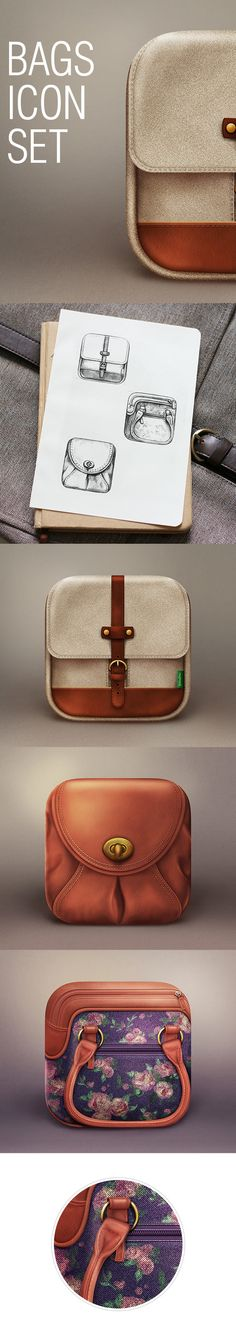 Bags icon set by Maria Isaeva, via Behance #app