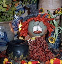 "Primitive Halloween Witch Raggedy Ann 7"" Doll Black Pot Vtg Patti's Ratties Bear"