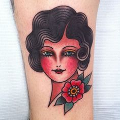 tattoo old school / traditional nautic ink - doll face / pinup (by Ashley Love)