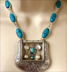 Western Belt Buckle Turquoise Bead Charms Silver Tone Necklace | eBay