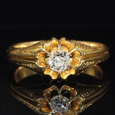 Antique Victorian Diamond Solitaire in 18k Made in England around 1880