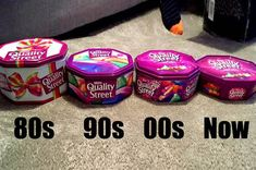 This photograph shows how the confectionery giant has slimmed down tubs of Quality Street three times since The tin is now less than half the size it was ten years ago – when it weighed Old Sweets, Vintage Sweets, Retro Sweets, 1970s Childhood, My Childhood Memories, Sweet Memories, Quality Street, British People, Christmas Treats