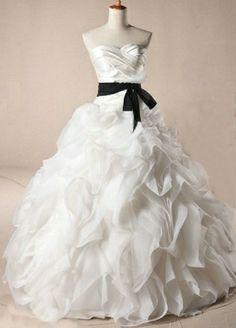 White Princess Organza Wedding Dress with Sexy Black Belt