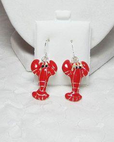 by LuvaBead Nautical Jewelry, Beach Jewelry, Orange Earrings, Drop Earrings, Red Lobster, Orange Red, Beachwear, Etsy, Sea