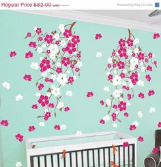 ❘❘❙❙❚❚ ON SALE ❚❚❙❙❘❘     Oriental Cherry blossom Decals.  Dimension]  visual dimension:60hx110w    want different size?Ask a quote before order.