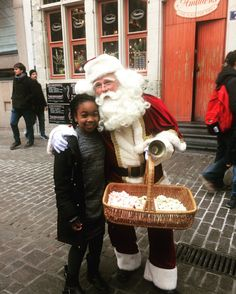 father christmas with princess in Gent christmas market