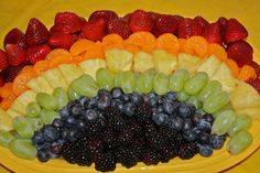 Noah's Ark Party - Rainbow Fruit Platter to Go Along With The Theme of The Party!