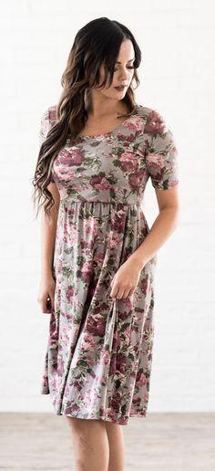 Natalie Dress (Gray Floral)