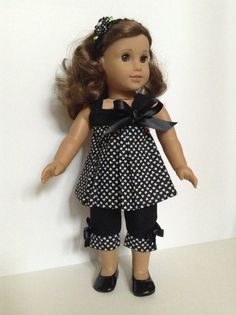 18inch American Girl Doll Clothes - Capri Pants, Black/White heart top Matching Hair Band by HFDollBoutique