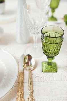 green & white table setting