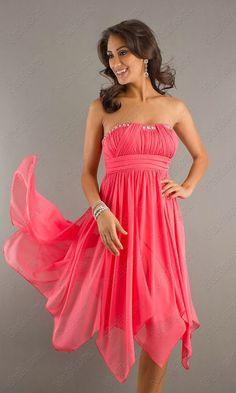 Sequin Ruched Short Strapless Coral Prom Dress - Vuhera.com