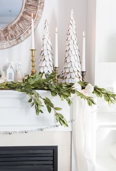 Christmas Fireplace Decoration Ideas DIY Christmas Decoration Projects For Fireplaces - Worth Trying DIY Projects Christmas Night, Elegant Christmas, Noel Christmas, Simple Christmas, White Christmas, Christmas Crafts, Southern Christmas, Victorian Christmas, Vintage Christmas